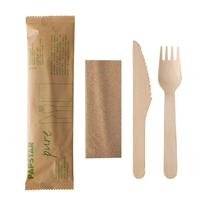"""Bestecksets aus Holz """"pure"""",  Messer, Gabel, Serviette in Papierbeutel - Bild 1"""