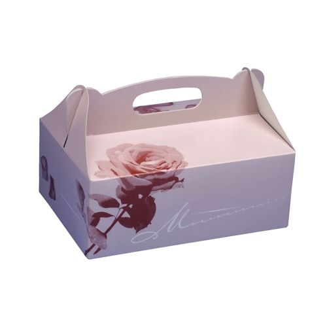 Gebäckschachteln, Pappe eckig 16 x 10 x 9 cm rosé mit Tragegriff - Bild 1