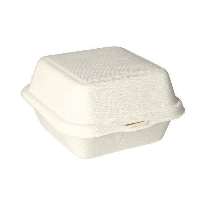 Hamburger-Boxen aus Zuckerrohr 14 x 15 cm weiss - Bild 2