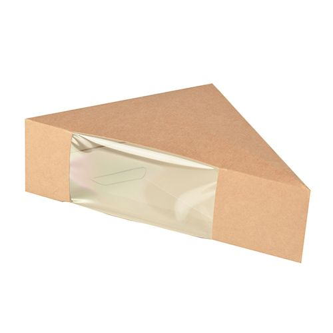 """Bio-Sandwichboxen, Pappe mit Sichtfenster aus PLA """"pure"""" 12,3 x 12,3 x 5,2 cm braun - Bild 1"""
