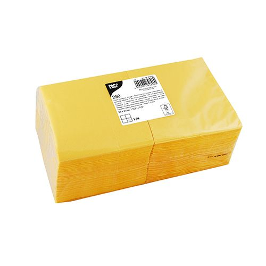 Servietten, gelb 3-lagig 1/4-Falz 24 x 24 cm - Bild 1